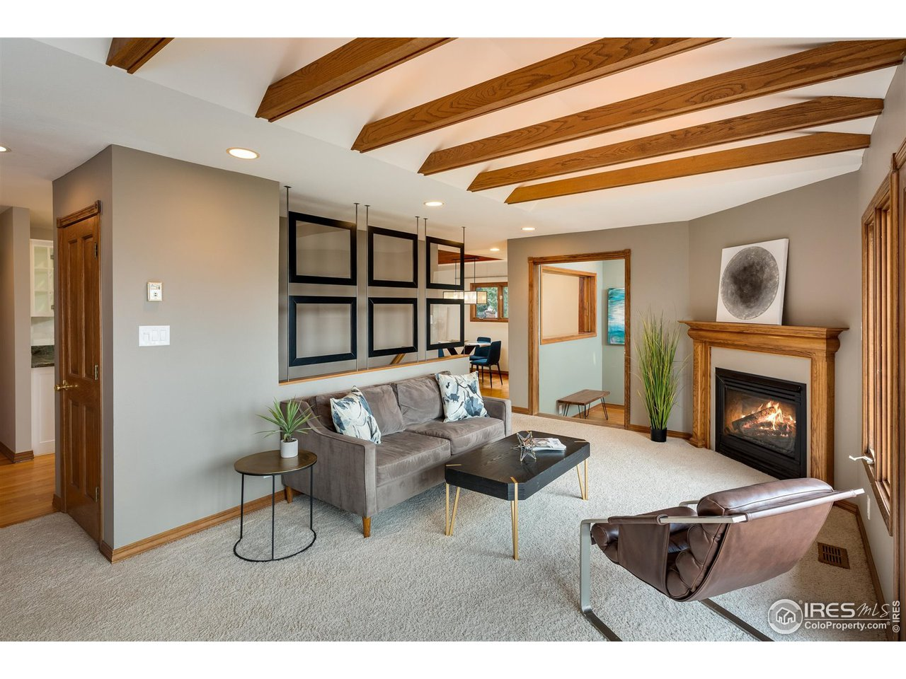 Main floor living area with gas fireplace