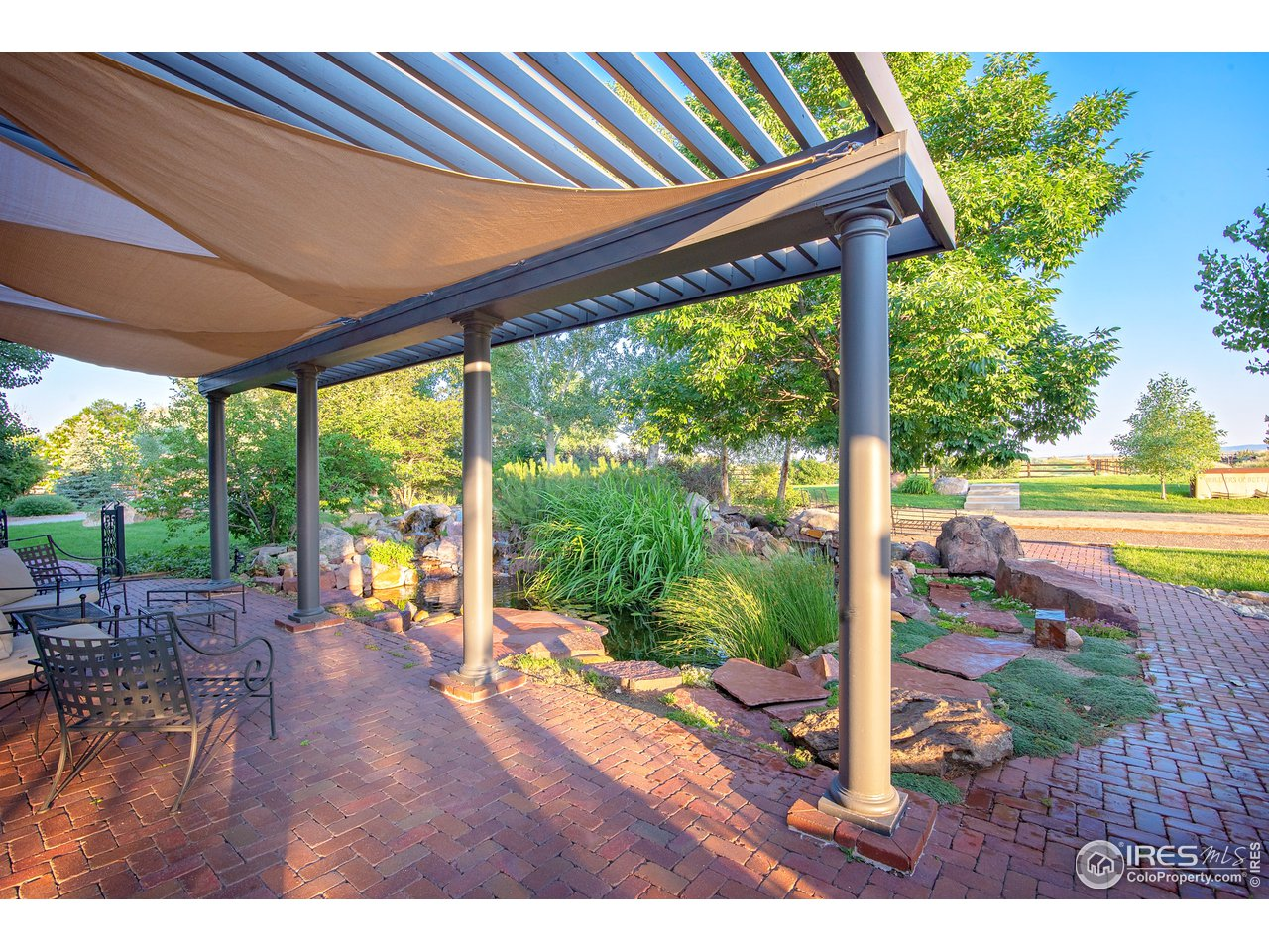 Shaded outdoor seating areas
