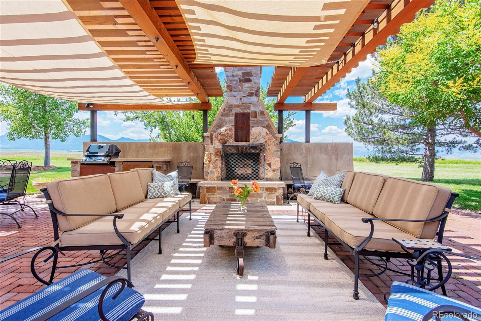 Outdoor Fireplace and seating areas