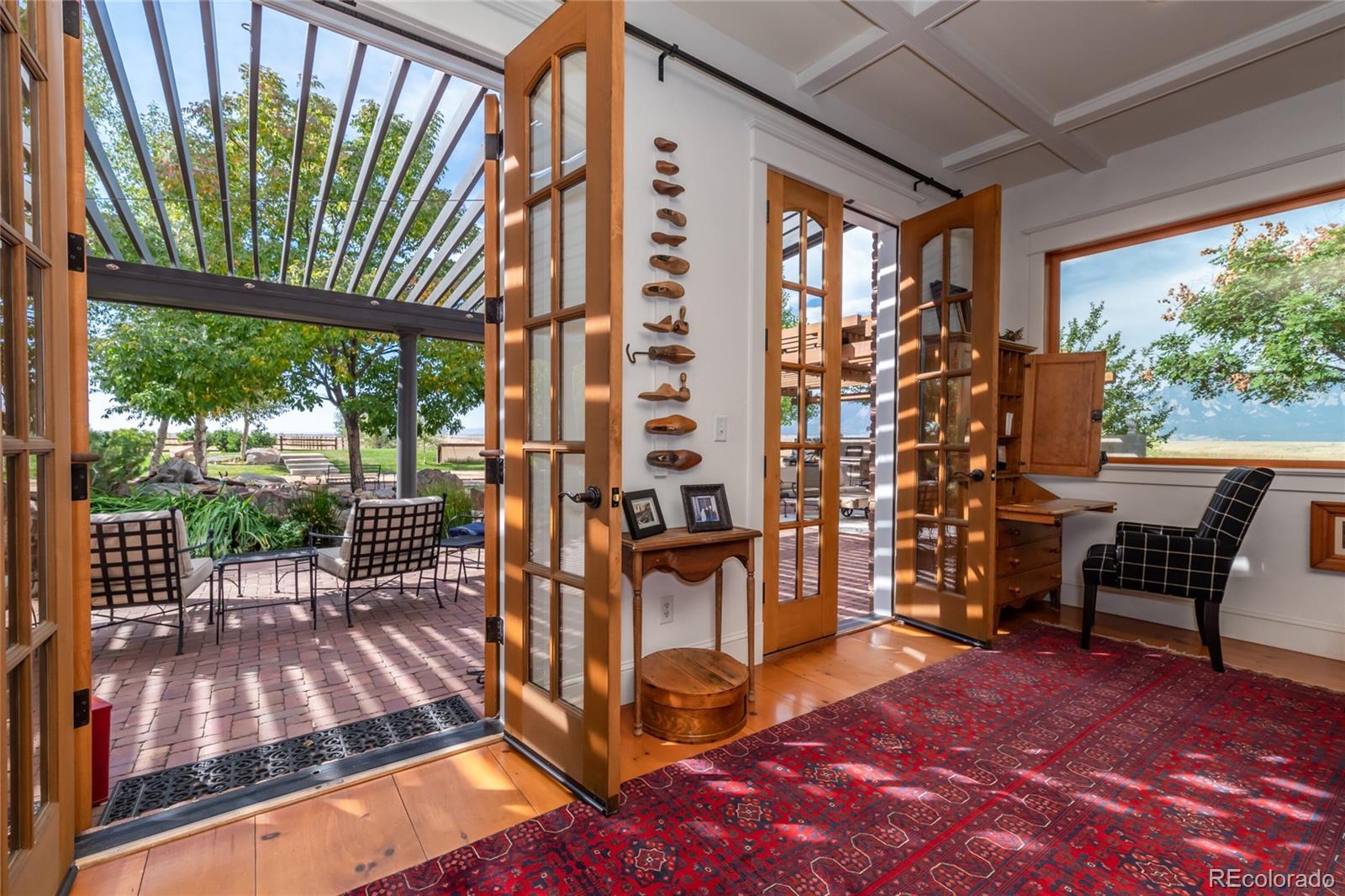 French Doors open to outdoor living area