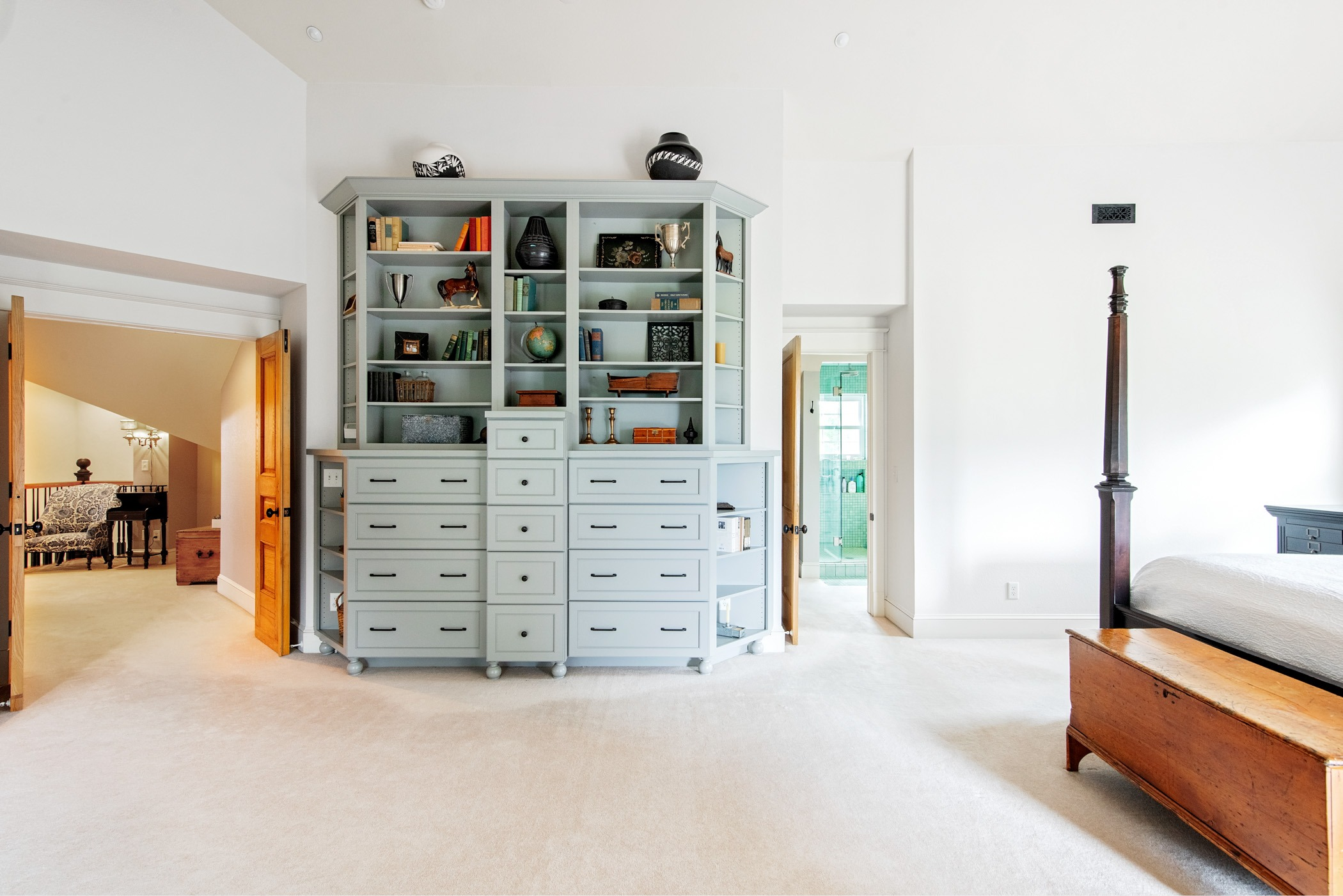 Spacious Master suite with built ins