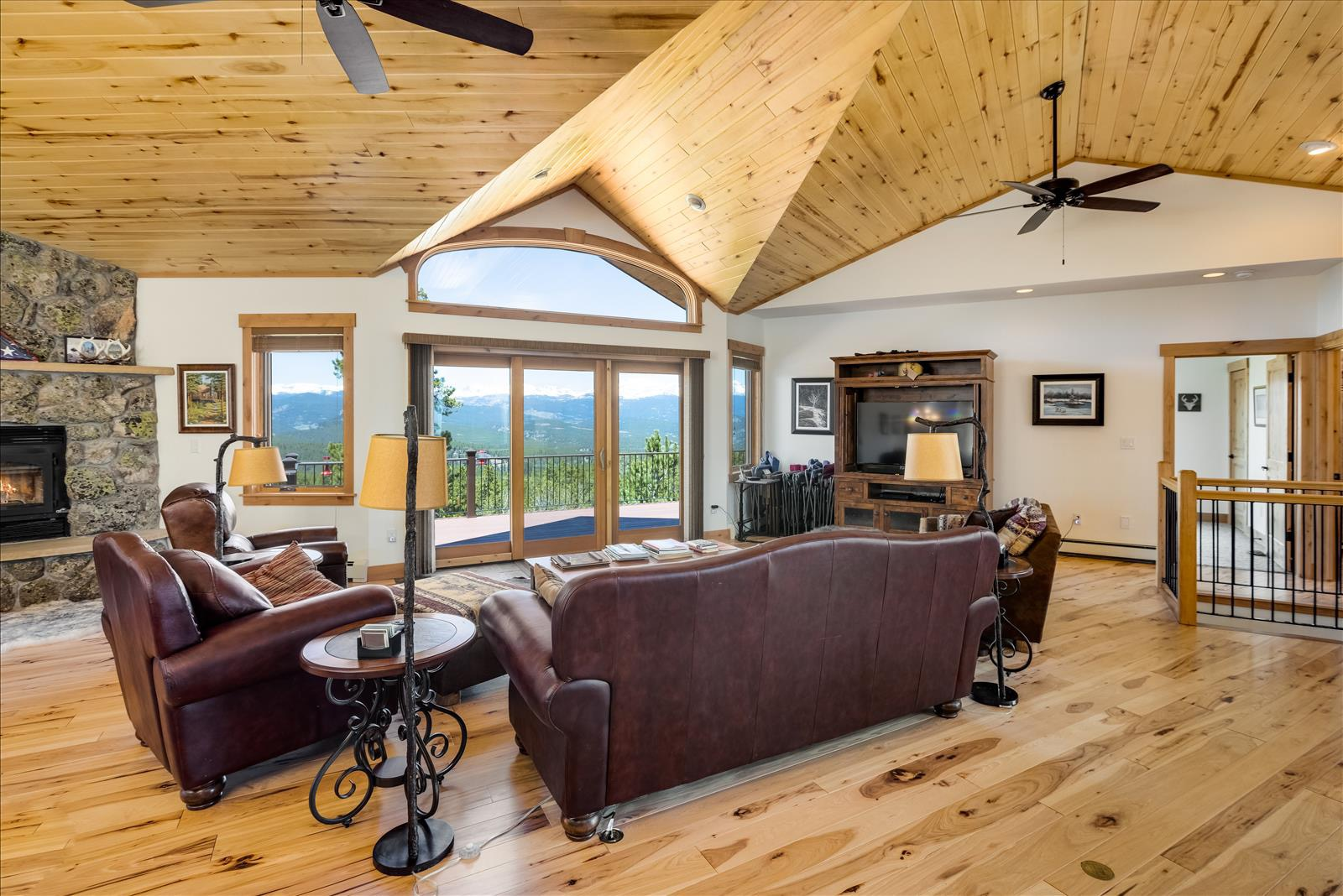 Great room with Hickory floors and Aspen ceiling