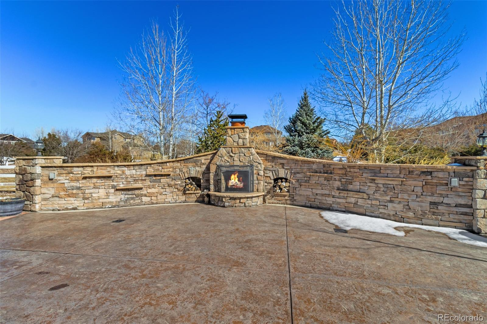 Wood burning fireplace in patio