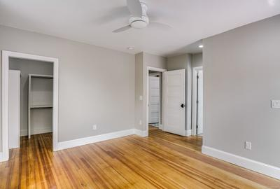 Master bedroom with generous walk-in closet - a rarity in houses of this era.
