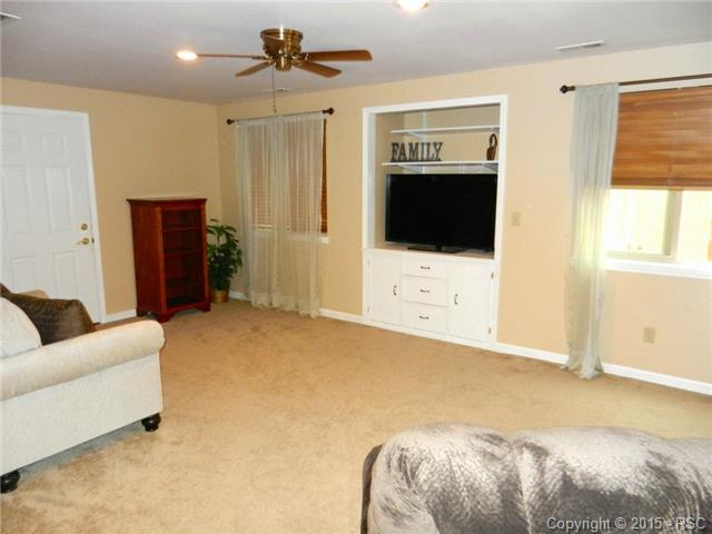 Basement family room with built-ins~great for entertaining
