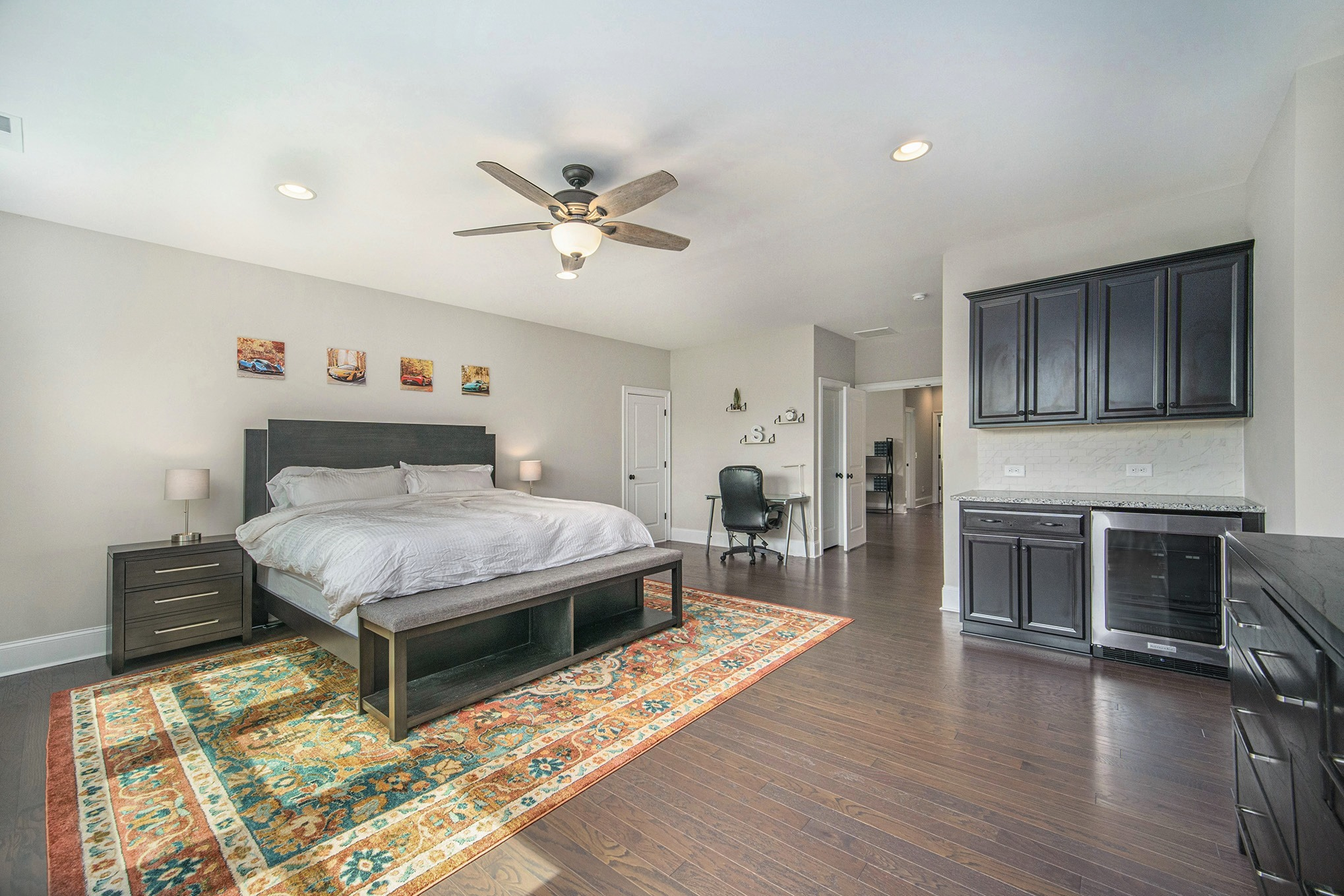 Recreation room set up as bedroom