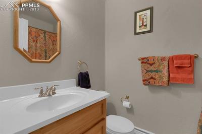 Full bathroom on main floor with skylight for energy efficient lighting