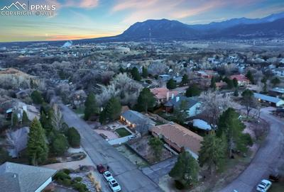 Aerial views of Pike's Peak and the surrounding mountains