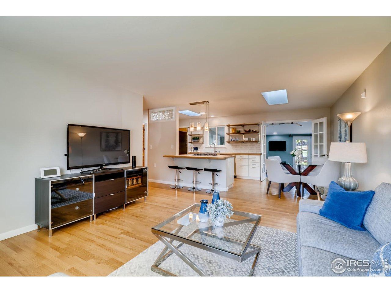 Front living room to kitchen - open floorplan