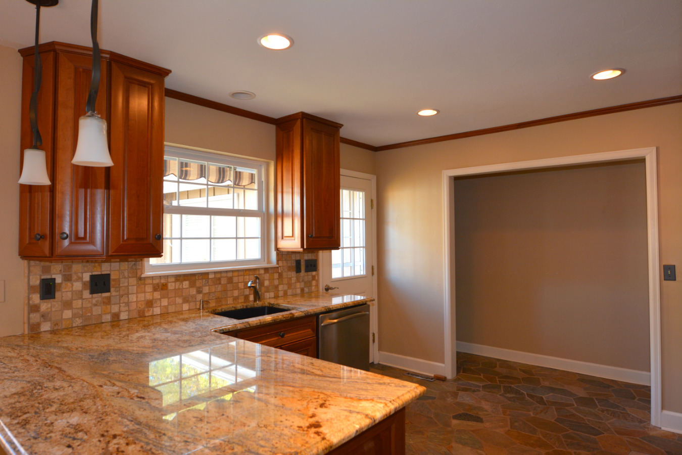 Granite Countertops and Cherry Cabinets!