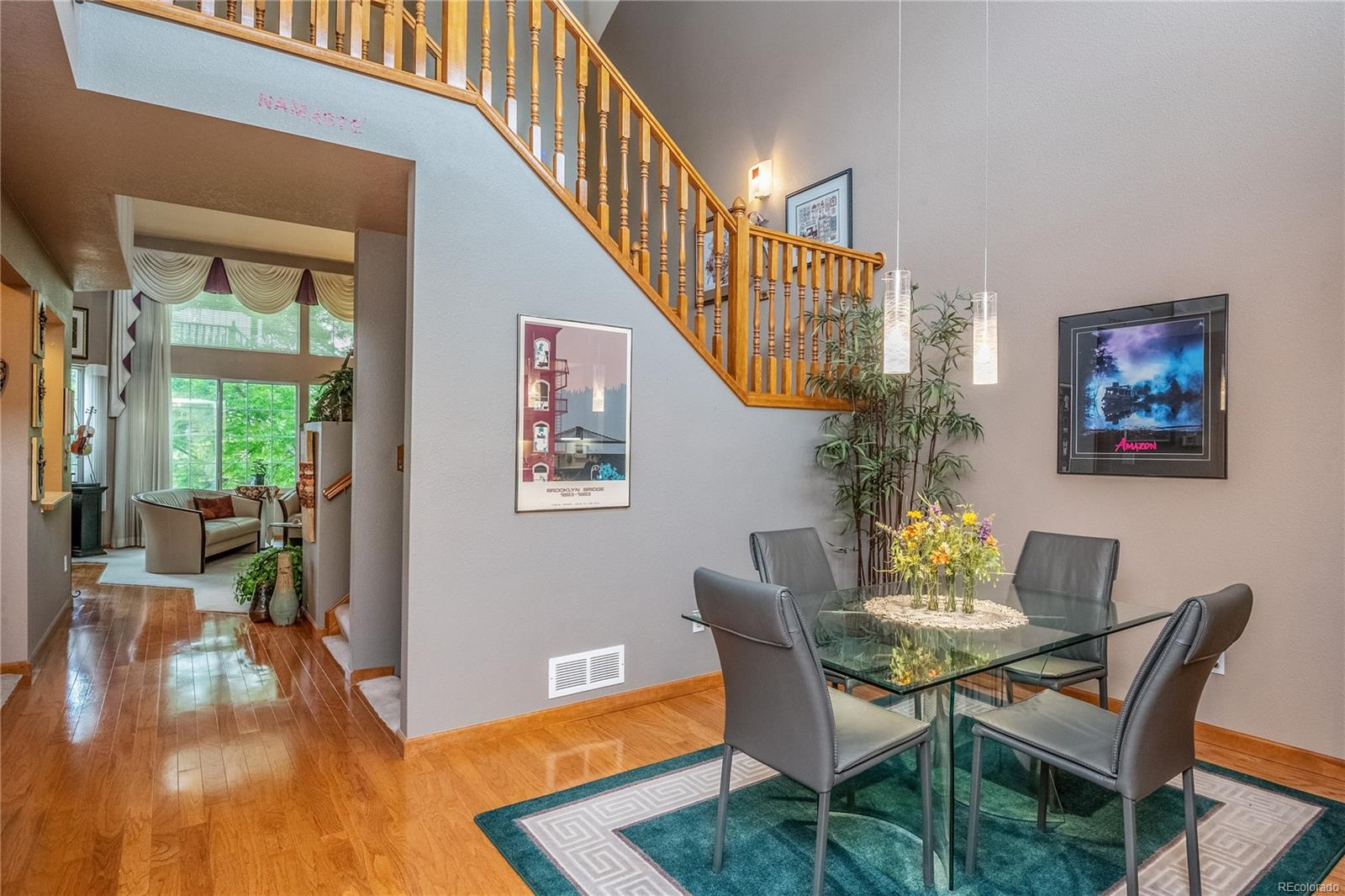 Family Room & Fireplace, Hallway to entrance, gorgeous wood floors, open & bright