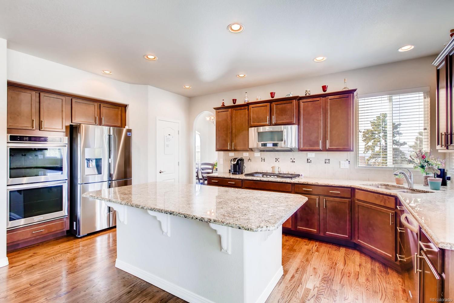 granite countertops and double oven