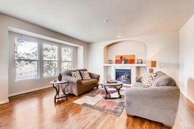 family room with beautiful views, hardwood floors and gas fireplace