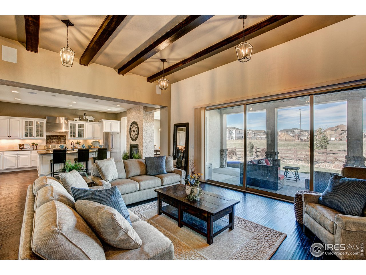 Great Room Flows Seamlessly onto Covered Patio.