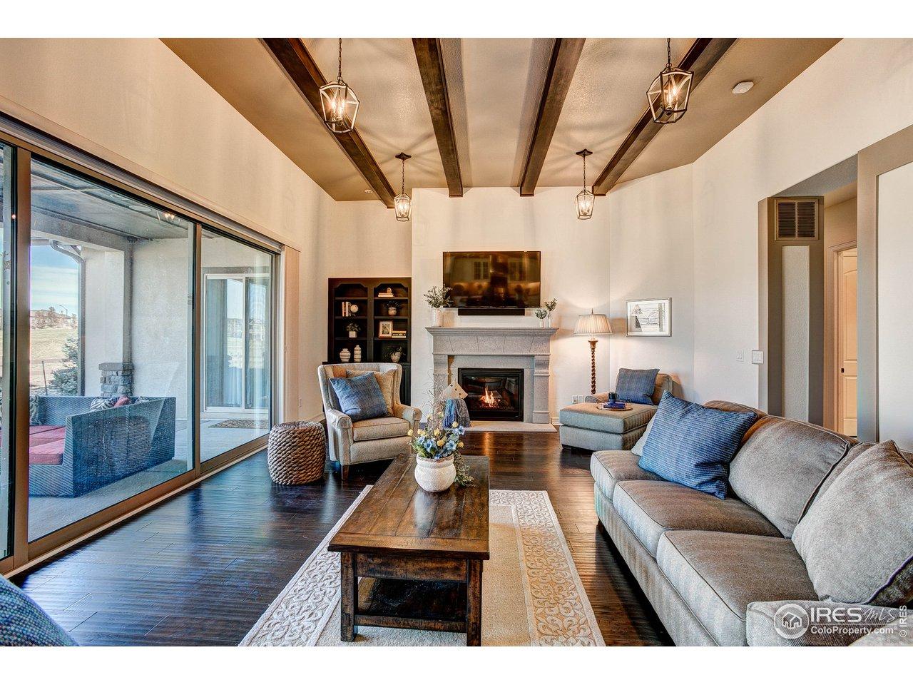 Grand Great Room w/Custom Fireplace & Built-ins