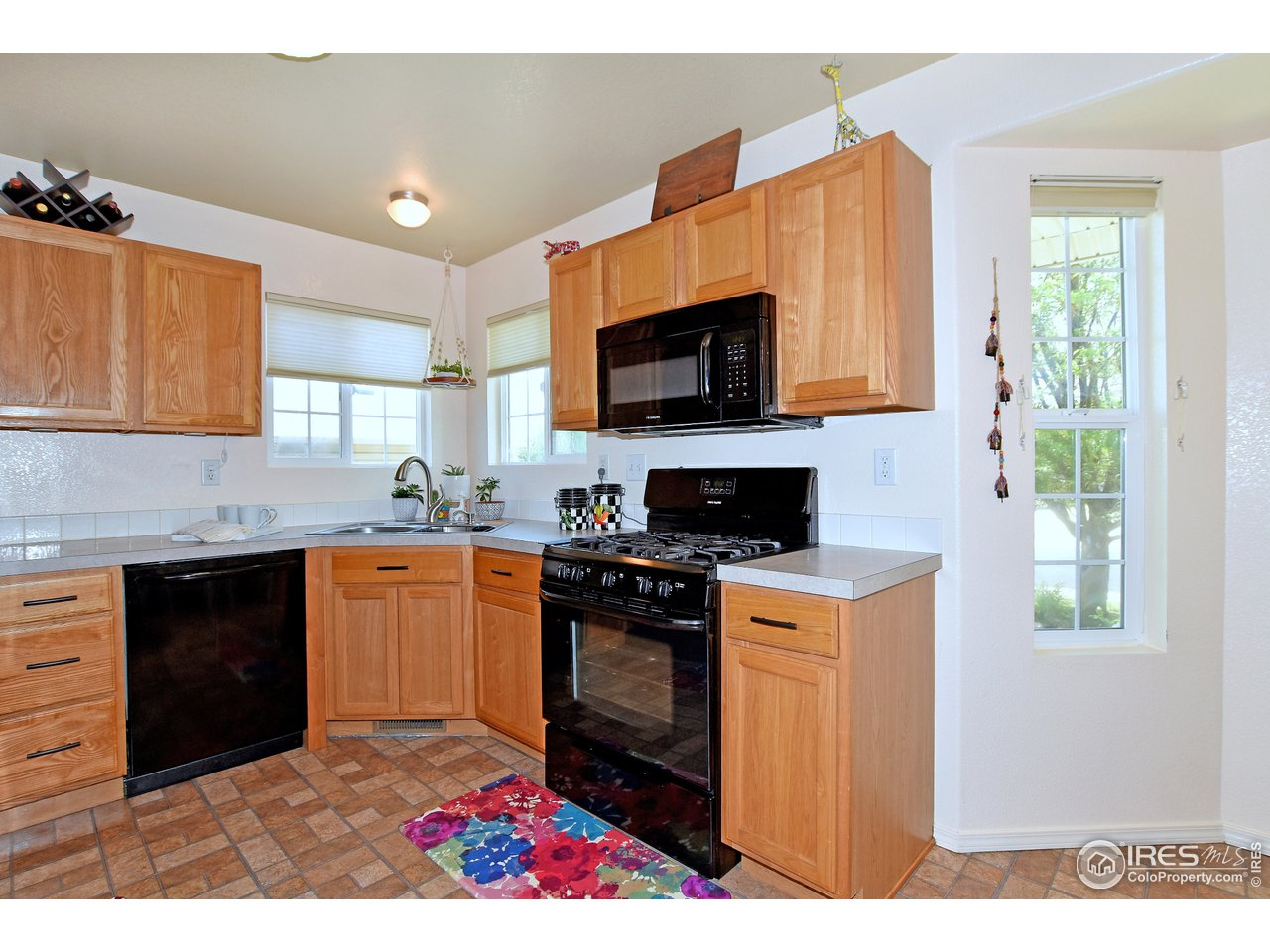 Lots of counter space and corner window over sink