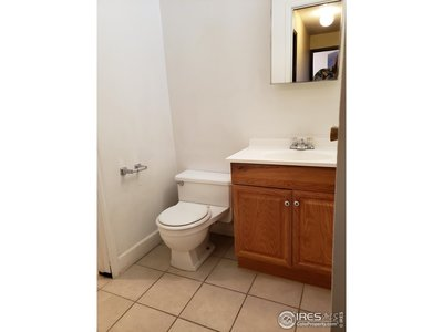 1/2 bath, connected to tub/shower