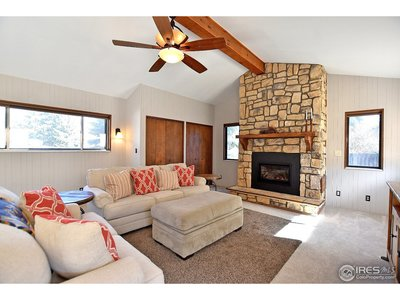 Gas log fireplace in the family room
