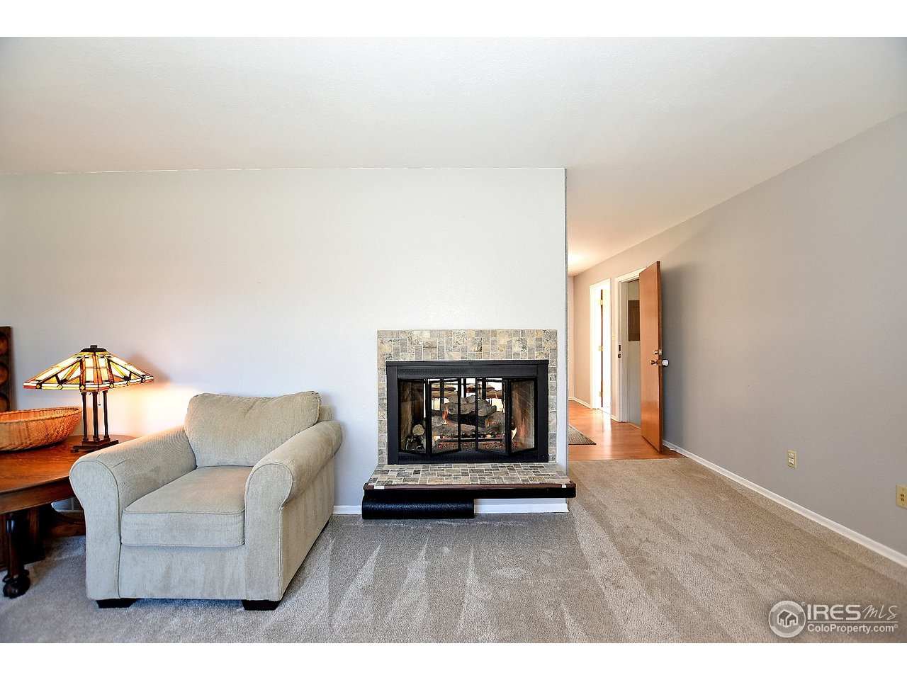 See through fireplace from living room to kitchen