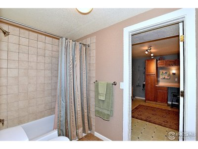 Full bathroom in basement access also from laundry