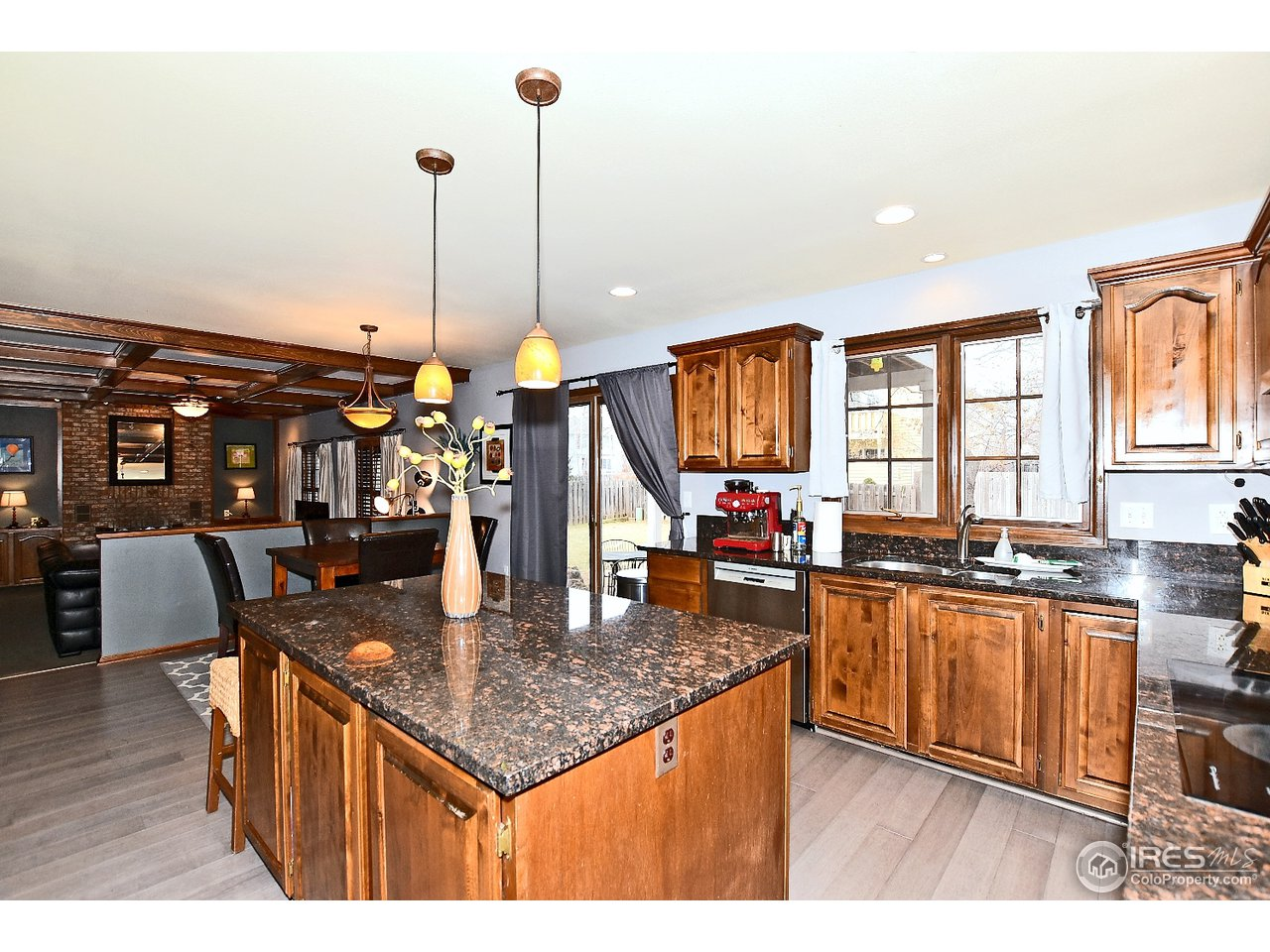 Granite island in kitchen