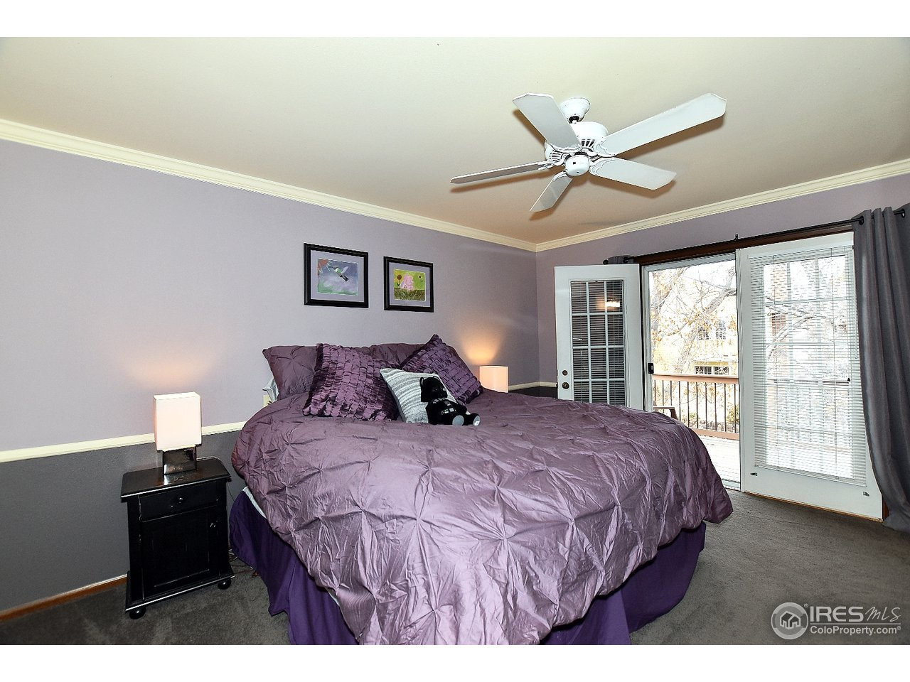 Master bedroom with French door to deck