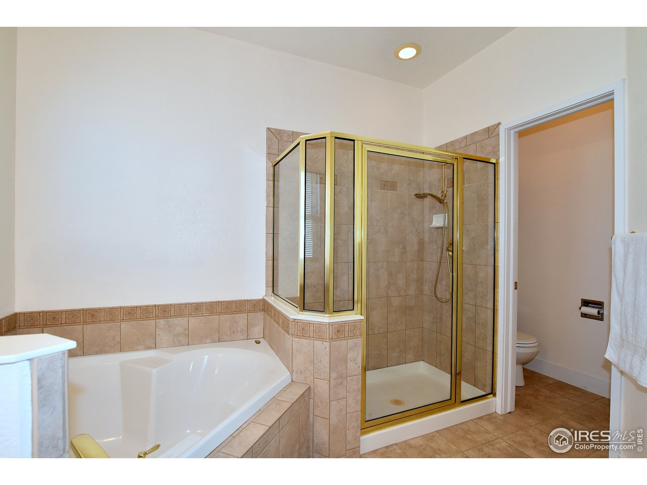 Deep soaking tub and separate shower