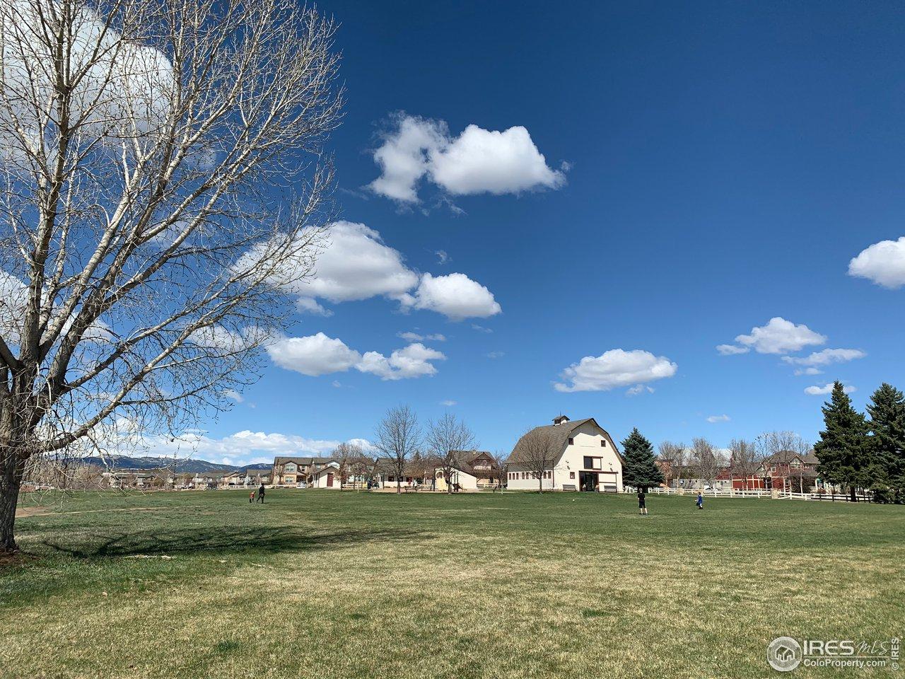 Rigden Farm park includes playground, community bldg, garden plots, open fields