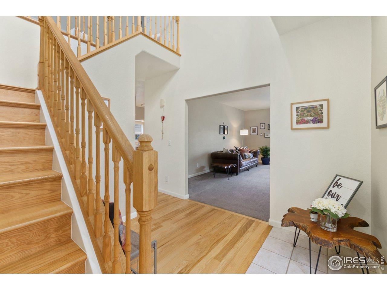 Beautiful wood stairway to second floor