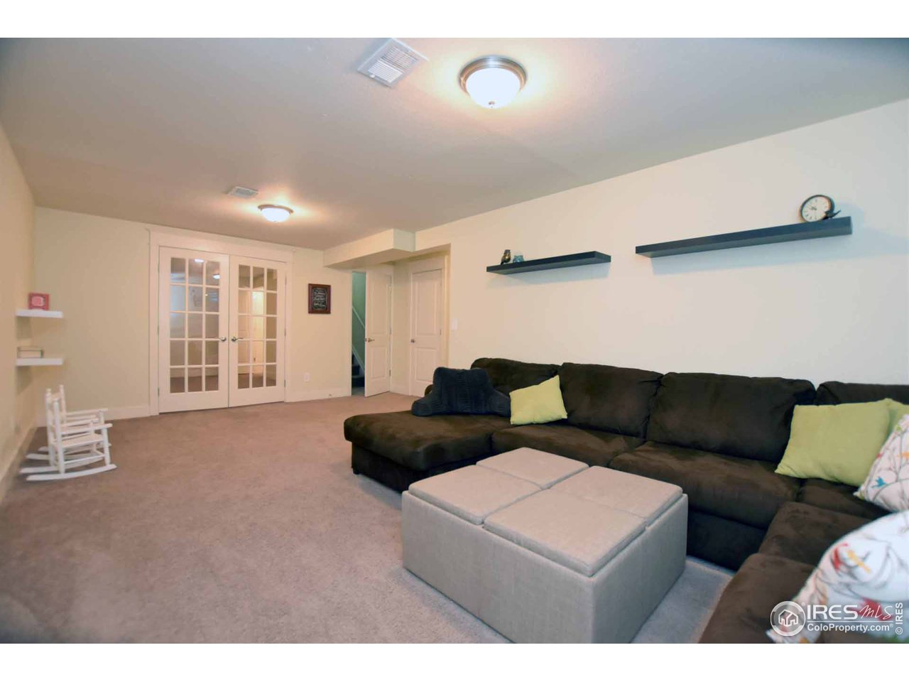 Finished basement has a great family room