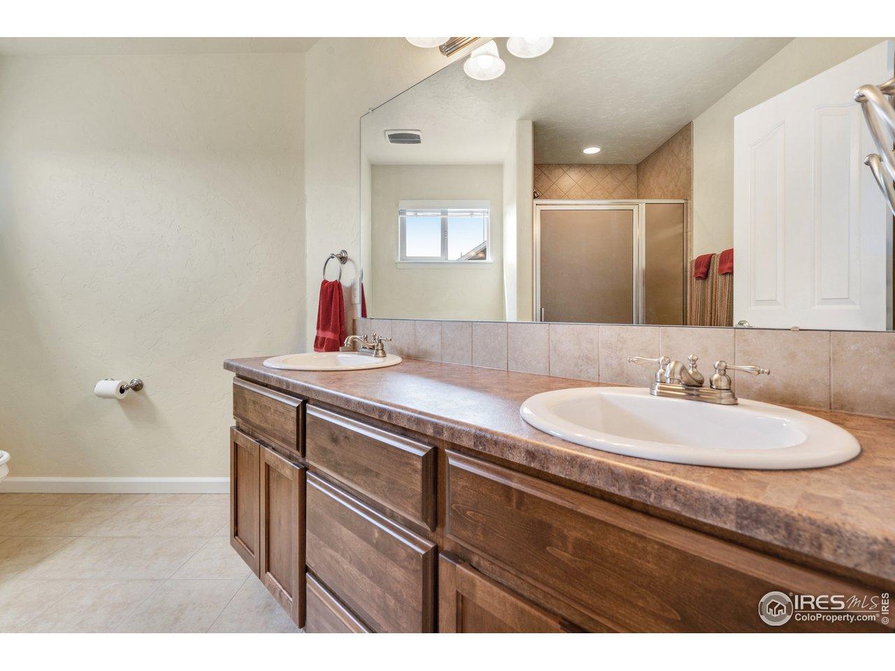 3/4 upstairs bath with double vanity
