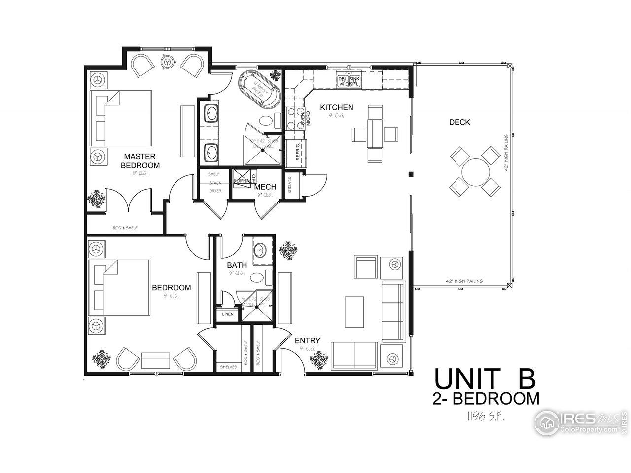 Oasis 2 Bedroom Unit B Floor Plan