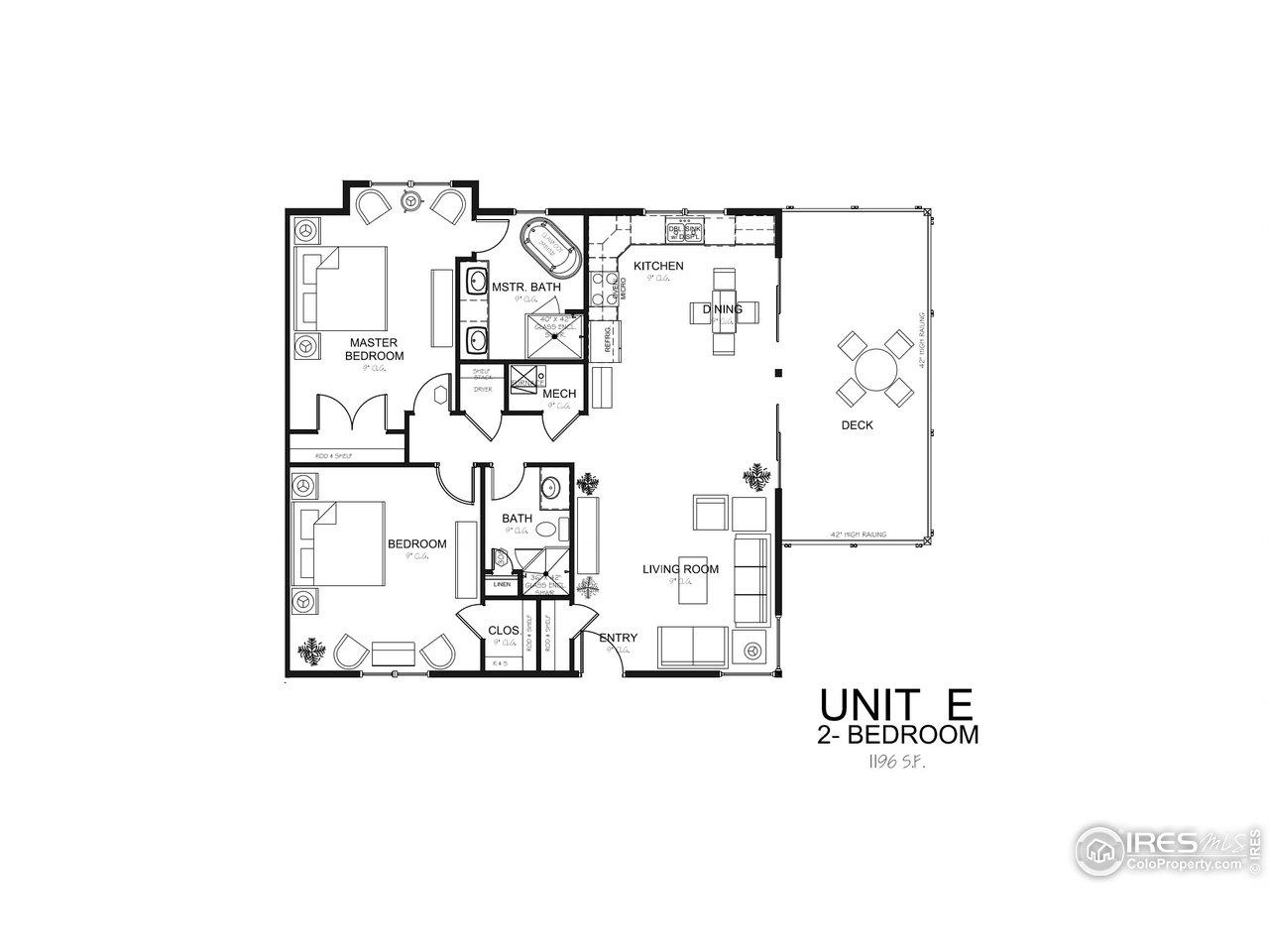 Oasis 2 Bedroom Unit E Floor Plan