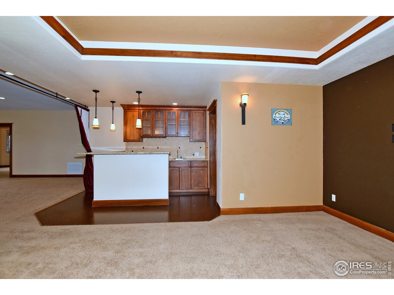 wet bar and media room