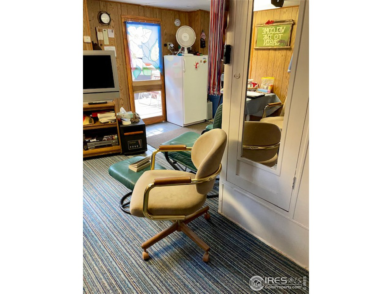 Living Area with TV & Refrigerator