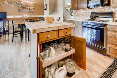 More thoughtful storage in kitchen with lots of roll outs