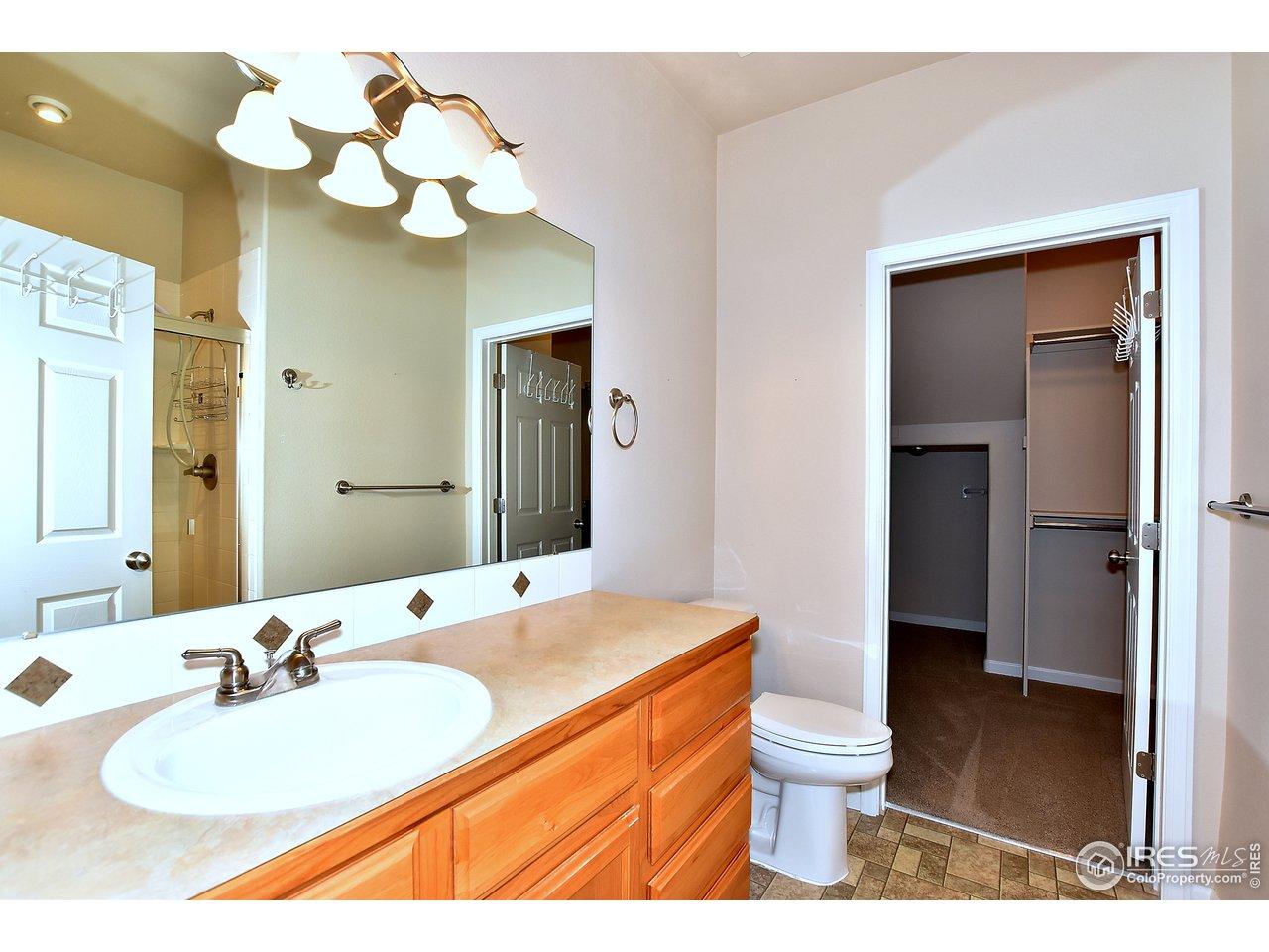 Spacious Master bathroom and huge walk in closet