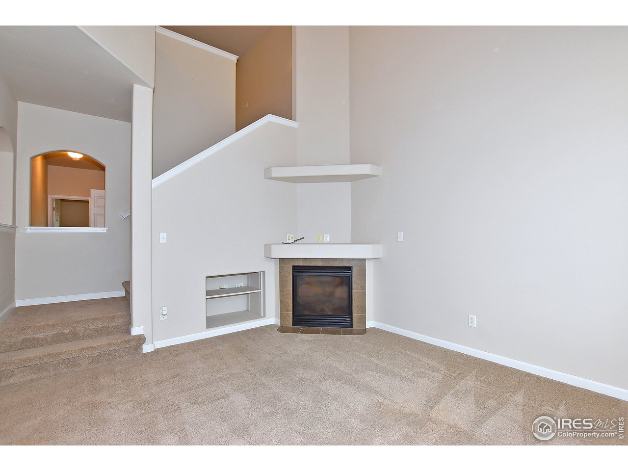 Fireplace and open stairwell