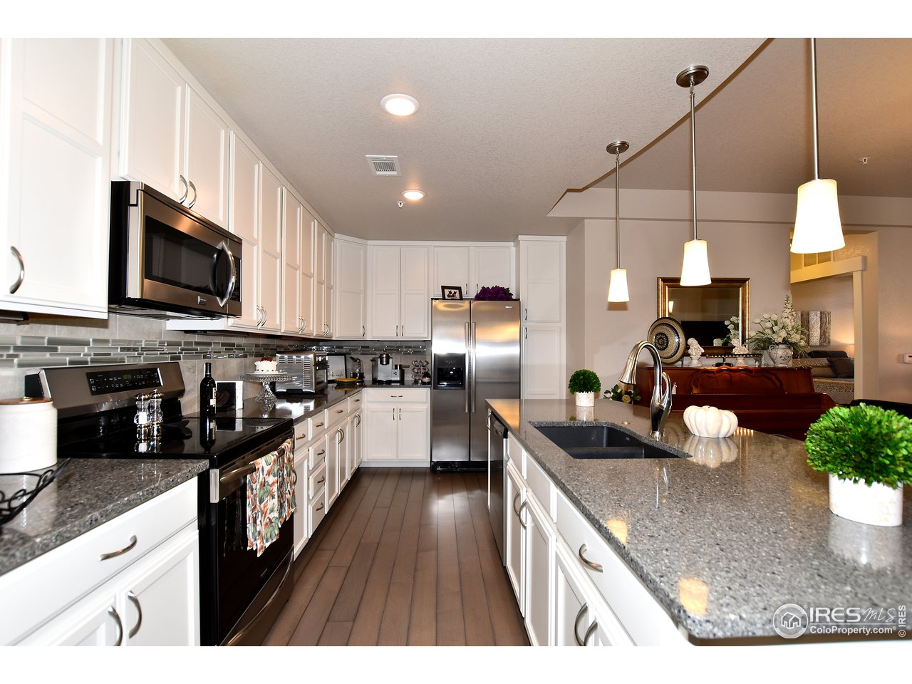 Tons of upgraded cabinetry, S/S appliances,  granite composite sink & quartz counters