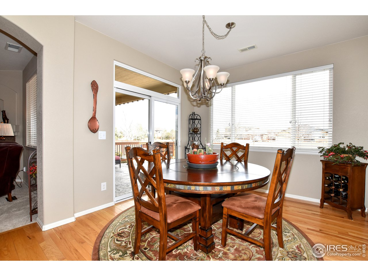 Spacious dining room with access to outdoor patio