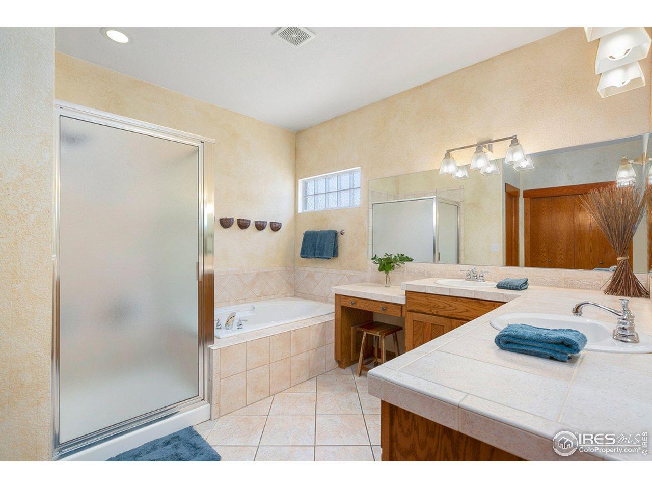 Great sized master bathroom w/huge linen closet on adjacent wall