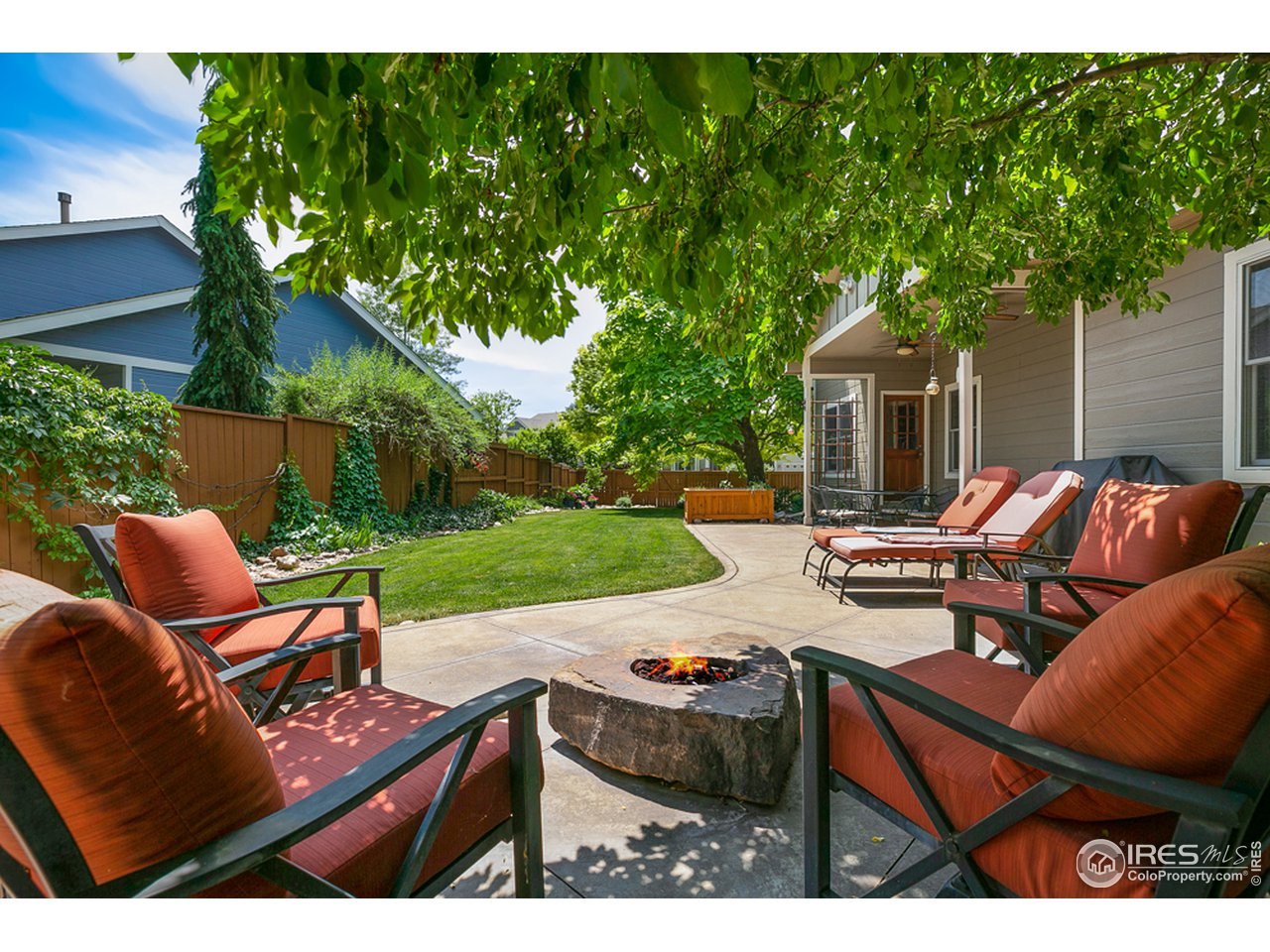 Enjoy summer and fall nights with the built in gas fireplace and stamped concrete patio