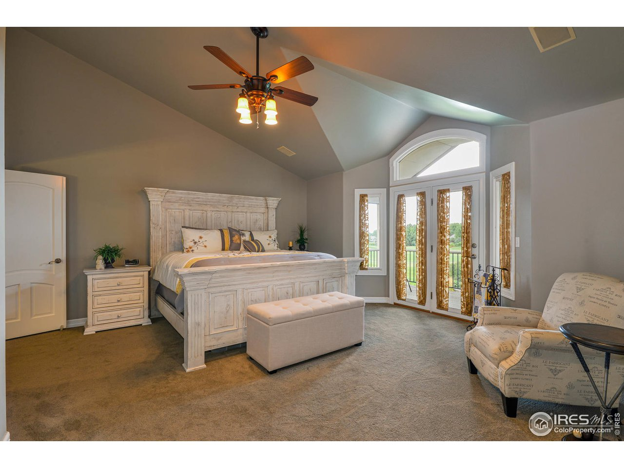Master Bedroom with french doors to balcony
