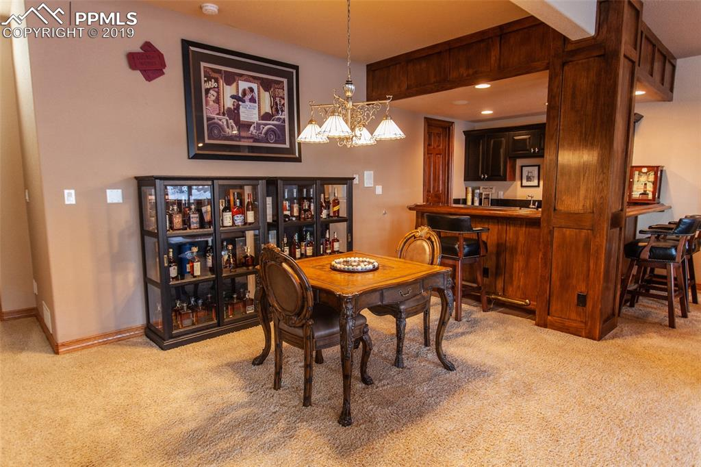 huge wet bar and seating