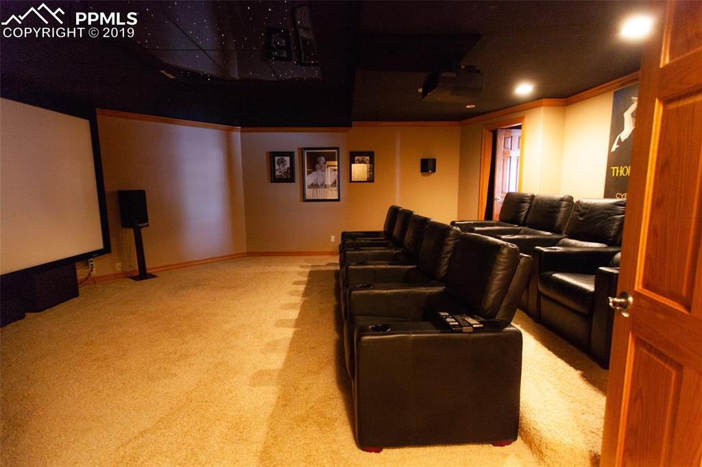 Multi-level seating in home theater. Everything is included!