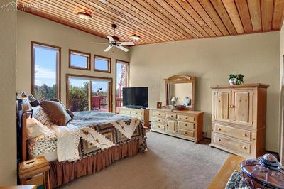 Master bedroom with vaulted ceiling, floor to ceiling windows, and large walk in