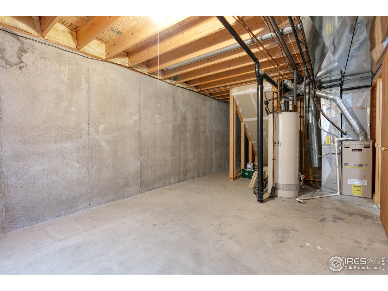 unfinished service space in basement