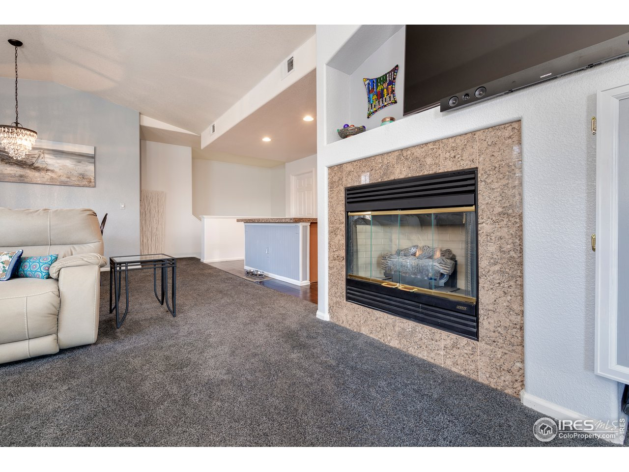 roomy living area with fireplace