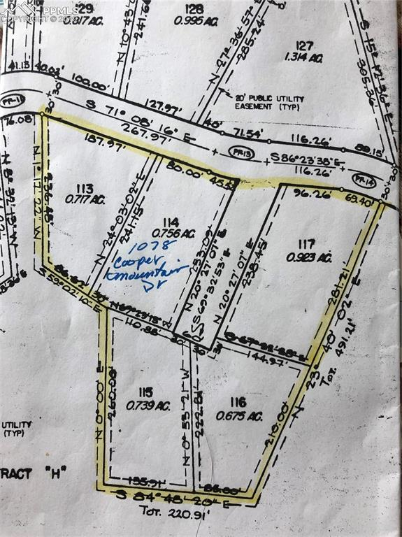 Lots included are highlighted in yellow. Lot 114 is where the home is located.