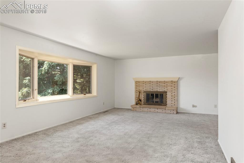 Wood fireplace with original firebrick outer hearth!